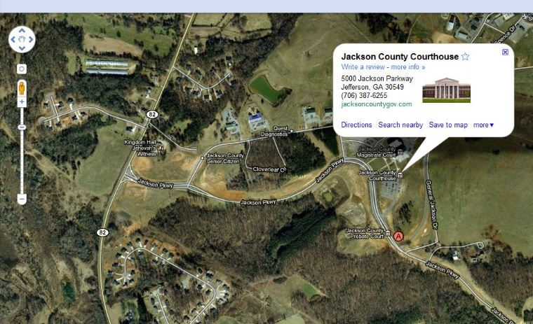 View the Jackson County Courthouse Aerial Google Map.